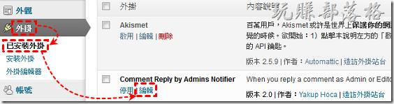 點選【外掛 》已安裝外掛】,找到「Comment Reply by Admins Notifier」,點選【編輯】。