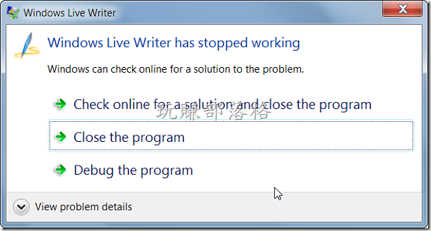 Windows Live Writer has stopped working