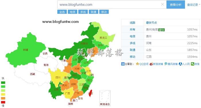 使用「站長工具」查詢測試中國大陸各省連接我們網站的速度