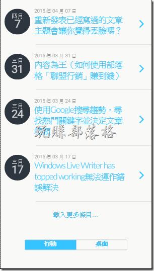 下面的圖案就是使用《WPTouch Mobile Plugin 》外掛呈現出本《跟著工作熊玩賺部落格》的效果。